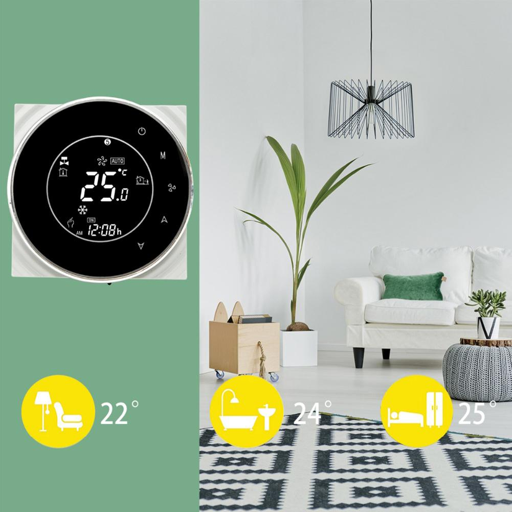 Wall Mounted WiFi Phone APP Control AC 24V/95-240V Cooling Heating Air Conditioning Fan Thermostat Voice Control Smart Home