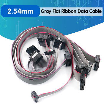 2.54MM pitch 30CM JTAG ISP AVR Download Cable Wire FC-6/10/14/16/20/40P PIN Connector Gray Flat Ribbon Data Cable image
