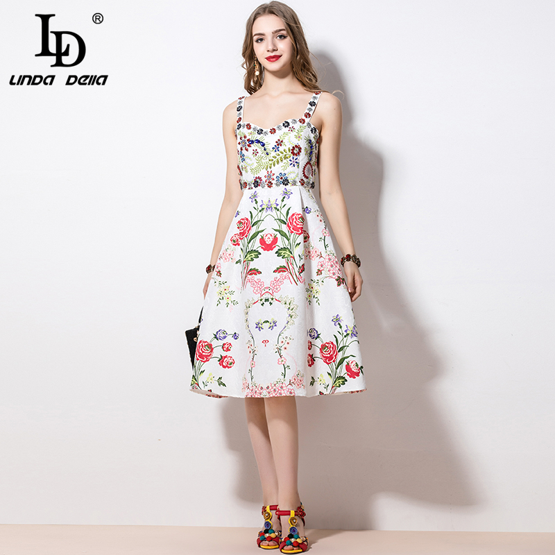 LD LINDA DELLA 2020 Fashion Runway Summer Dress Women's Spaghetti Strap Casual Flowers Print Crystal Beading Elegant Dress