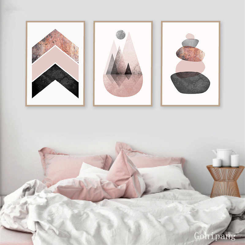 Scandinavian Prints Pink Grey Rose Gold Poster Chevrons Mountains Stones Canvas Painting Modern Abstract Wall Art Wall Decor Painting Calligraphy Aliexpress