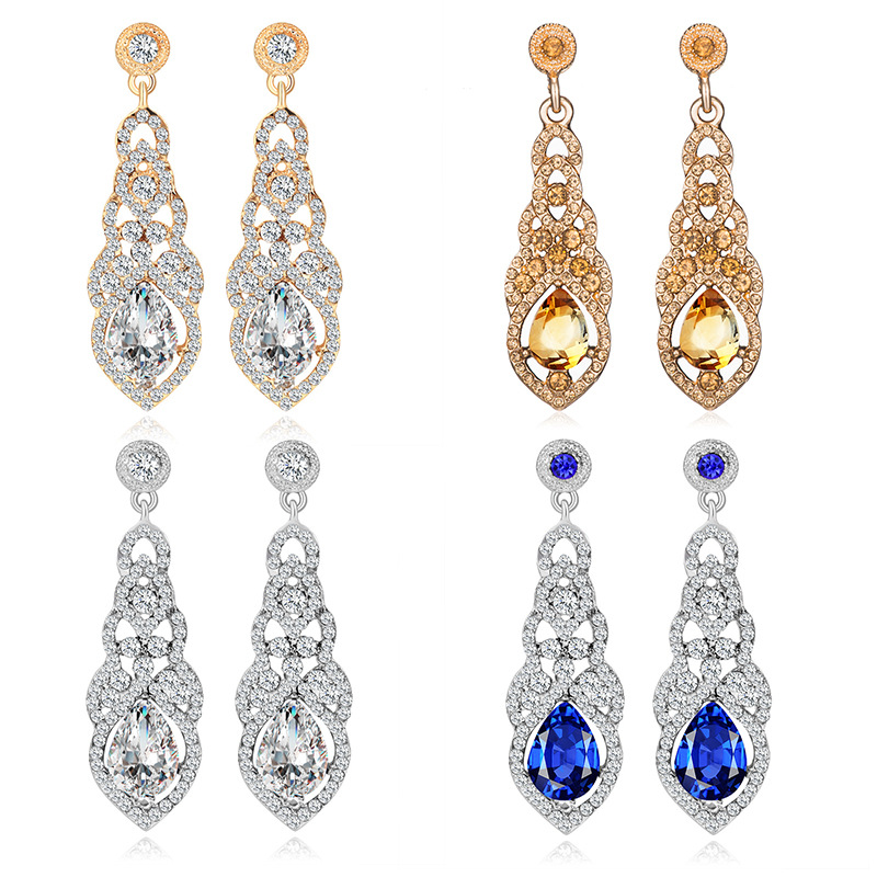 Classical Long Crystal Dangle Earrings For Women Statement Rhinestine Hanging Drop Earrings Bride Wedding Jewelry Accessory