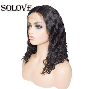 Bob Wig Human-Hair-Wigs Natural-Wave Lace-Front Short with 10--14 Brazilian 13x6 Pre-Plucked