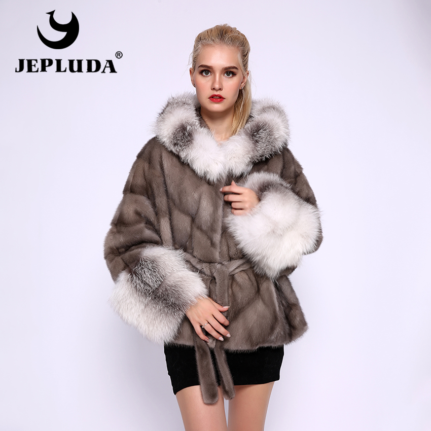 JEPLUDA Natural Real Mink Fur Coat Women Loose Bat Sleeved Hat Cuff Real Fox Fur Thick Warm Real Fur Coat Women Real Fur Jacket