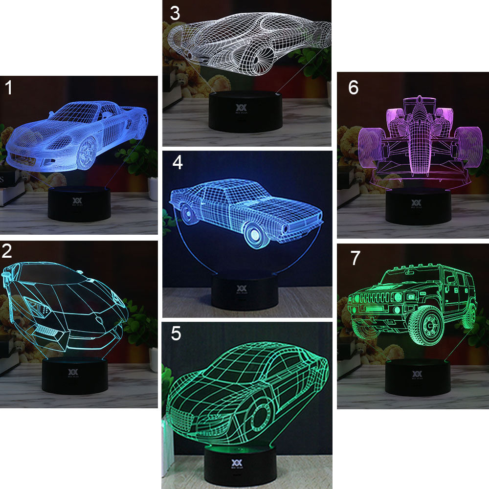 Night Light Table Lamp Gifts Atmosphere 3D Motocross Bike Touch Control Decoration Christmas Xmas  Car Art Kid Indoor Lighting