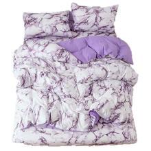 Комплект постельного белья с фиолетовым мрамором пододеяльник