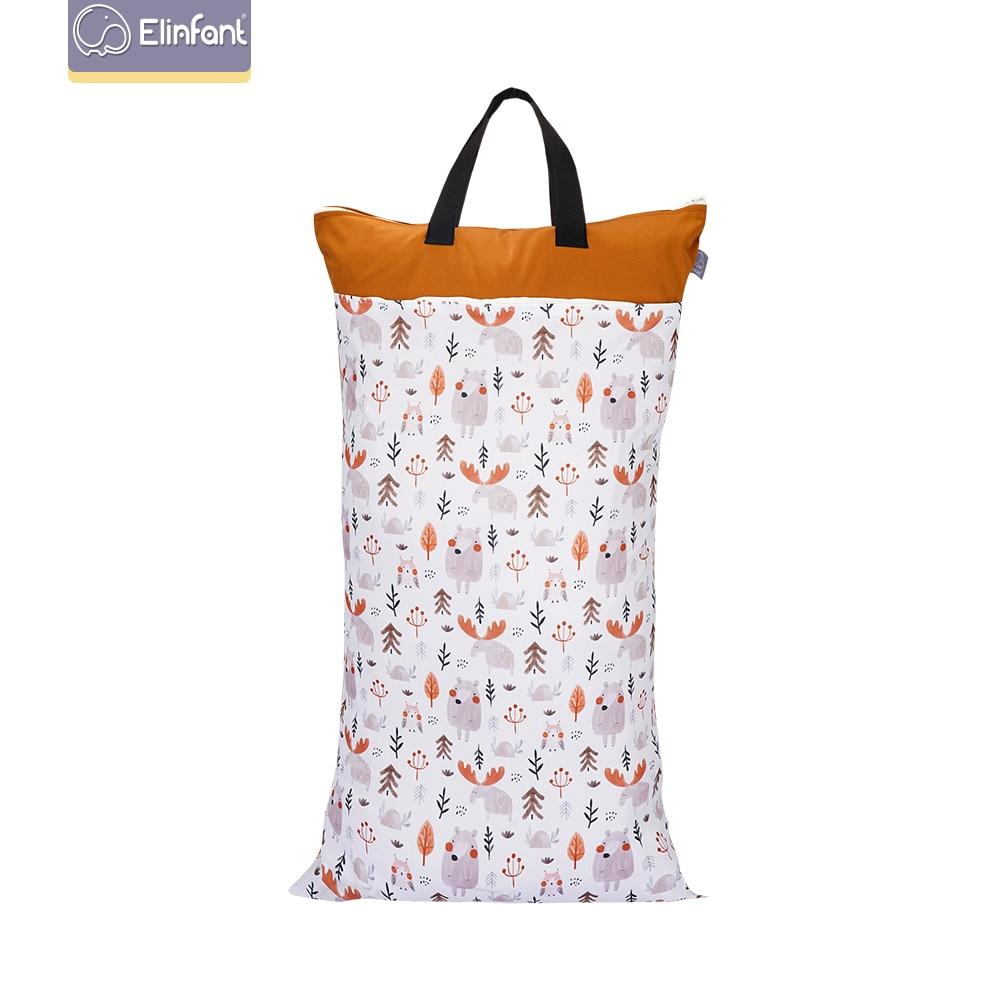Обновленная версия сухих и влажных сухих тканевых сумок Elinfant для детских подгузников, многоразовый, очень большой вместимости, 40 × 70 см, с дв...