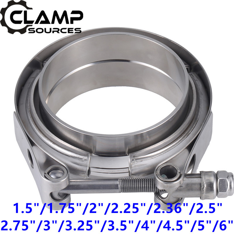 "Stainless Steel Car Vband Clamp 2 2.5 3 3.5 Inch 3 V Band Clamp 76mm Muffler Exhaust Flange Pipe Clamp 2.25"" "" 2"
