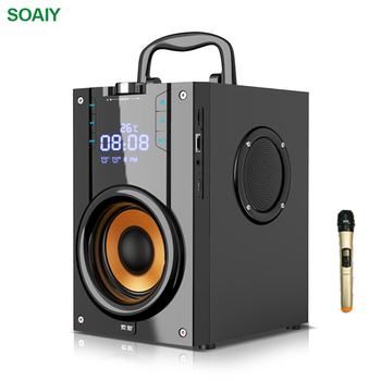 2200mAh Outdoor Bluetooth Speaker Active Bass Stereo Microphone Music Player Clock LED FM Radio TF Card Wireless Subwoofer