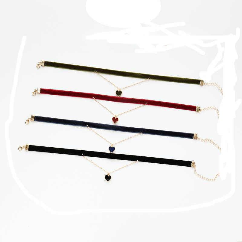 Koreańska wersja ślicznych małe czerwone serce stopu kropla oleju i gazu mody wszechstronny krótki naszyjnik