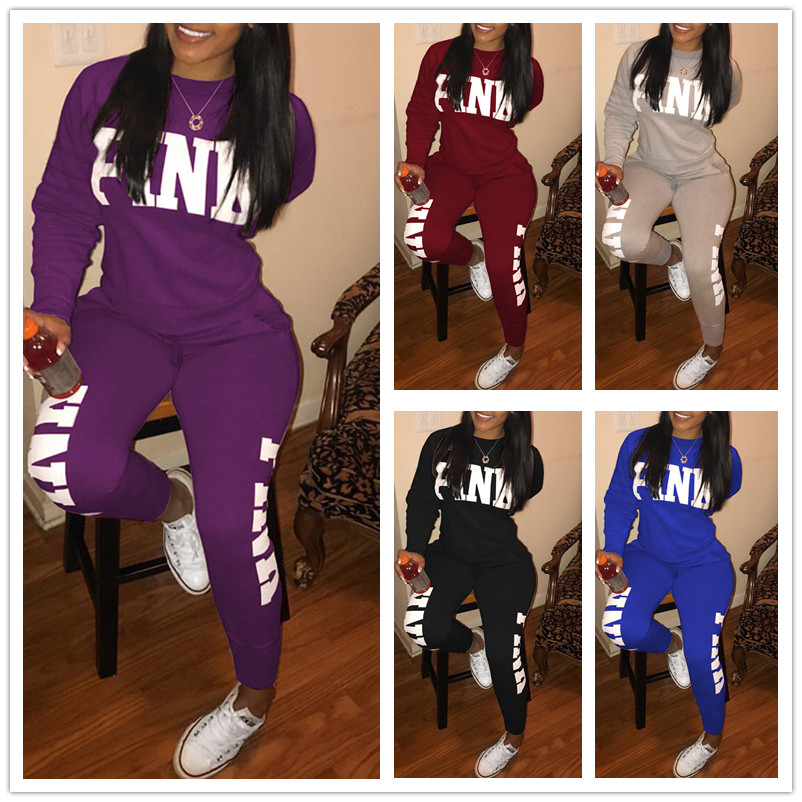 Image 5 - Plus Size Women Casual Set Two Piece Breathable Long Trousers Top Set PINK Letter Trinted Women Tracksuit Blue Purple Red BlackWomens Sets   -