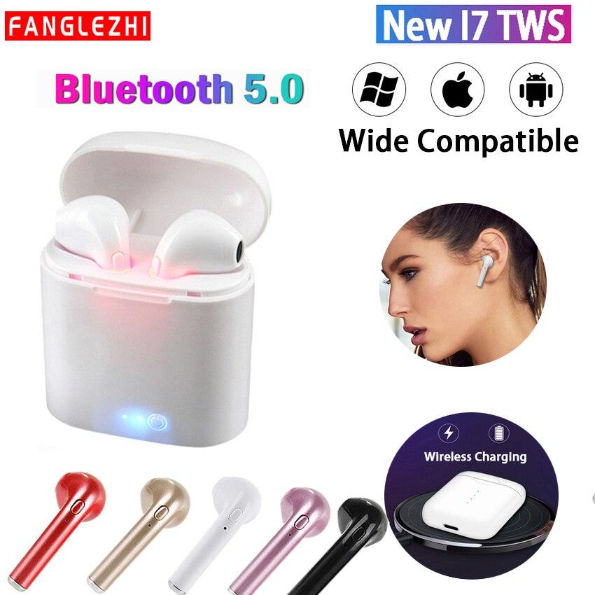 I7 TWS auriculares inalámbricos Bluetooth 5,0 auriculares deportivos estéreo auriculares con caja de carga micrófono para Samsung huawei Xiaomi Protector Huawei P8 Lite 2017 Dorado Completo 3D Cristal Templado de Pantalla