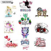 Nicediy Fashion Girl Unicorn Iron-On Transfers Vynil Heat Transfer Ironing Stickers T-shirt Thermal Patches For Clothing