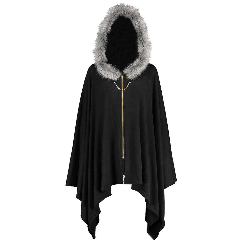 Gothic Women Winter Warm Black Oversize Cape Female Zipper Irregular Fluff Hooded Outwear Casual Pullovers Plus Size XL 5XL