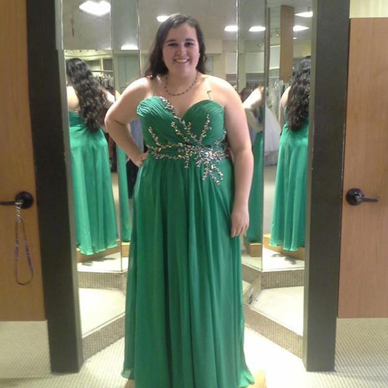 Elegant Green Plus Size   Evening     Dress   Sweetheart Beaded Chiffon Long Graduation Prom   Dresses   Oversize Formal Party   Dress   2019