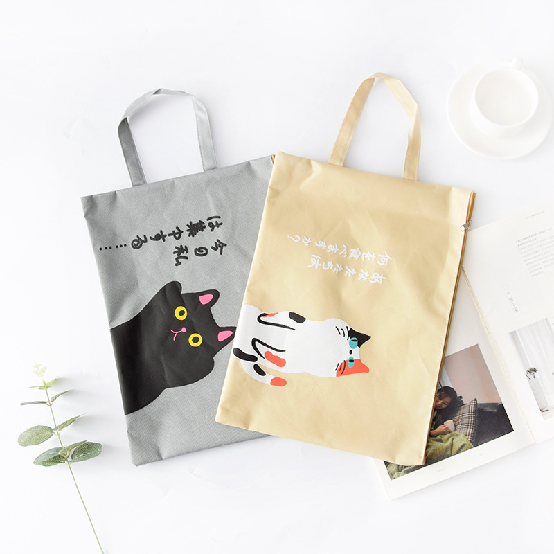 1 PC A4 Document Bag Cat Folder Bag Cute Kawaii Large Capacity Oxford Cloth High Quality Documents Folder Gifts For Students