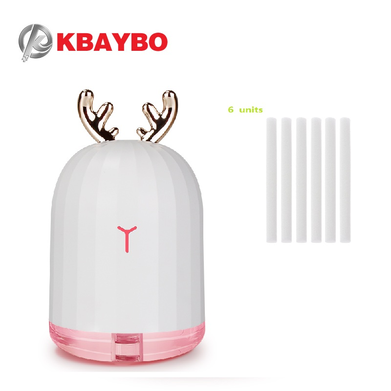 KBAYBO 220ML USB Humidifier Ultrasonic Air Diffuser 6 Units 8mm*130mm Humidifiers Filters Cotton Swab For Mini USB Diffuser