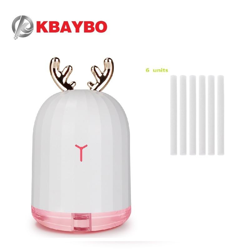 KBAYBO 220ML USB Humidifier Ultrasonic Air Diffuser 6 Units 8mm*130mm Humidifiers Filters Cotton Swab For Mini USB Diffuser