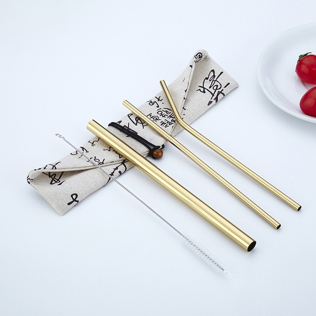 Reusable Stainless Steel Drinking Straws 4 Pcs Set