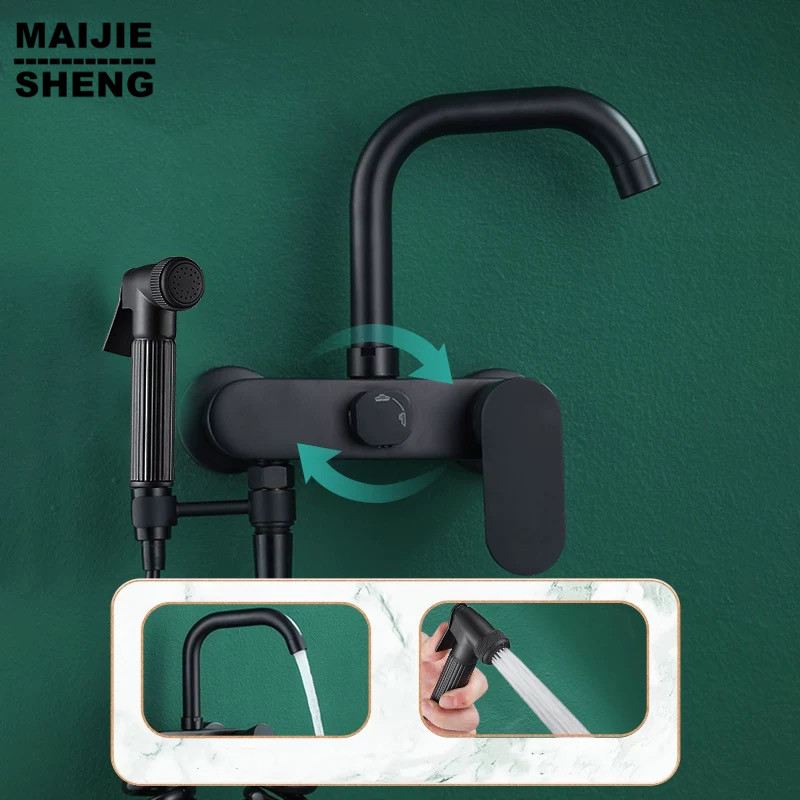 Black Wal Kitchenl Faucet With Brass Shower Sink Black Kitchen Faucet Hot And Cold Wall Tap Kitchen Tap Wall Kitchen Faucet