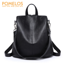 POMELOS Luxury Women Backpack Fashion New Anti Theft Backpack PU Leather Backpack For Women Female School Bags For Teenage Girls boys contrast pocket jeans