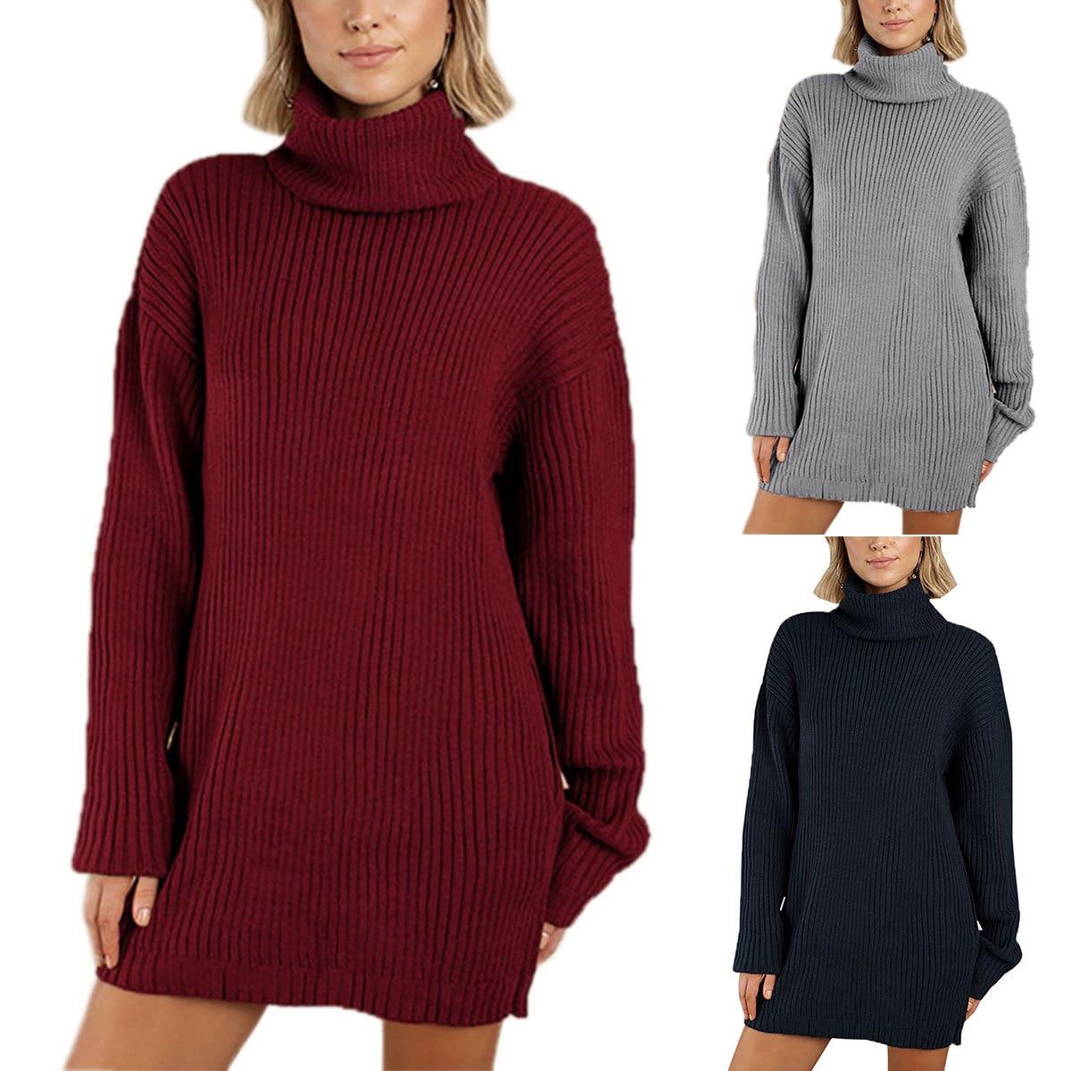 Women High Neckline Knitted Dresses Turtleneck Plus Size XXL 2XL Dress 82