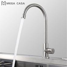 Kitchen Faucet Brushed Nickel Stainless Steel Single Cold Water Mixer 360 Degree Rotation for Kitchen Single Handle Single Tap