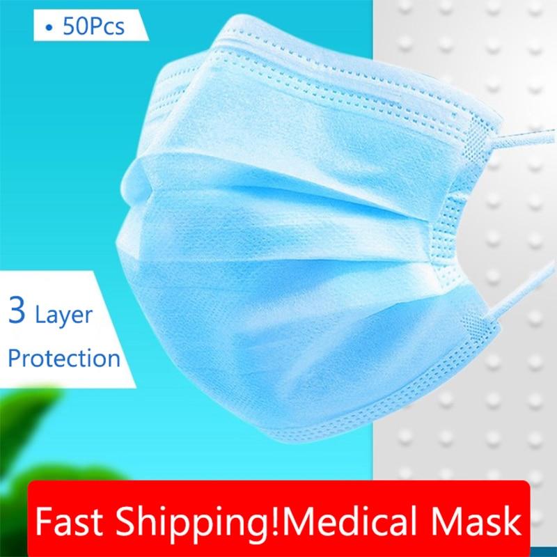 100 Pcs 3 Couche Sergical Med Ical Masque Anti-virus Non-Tissé Sécurité Respirant Masque Visage Anti-Poussière Mascarillas Coron