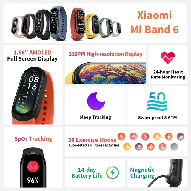 Фитнес-браслет Xiaomi Mi Band 6 с AMOLED экраном, мониторинг пульса и содержания кислорода в крови, водонепроницаемый 2