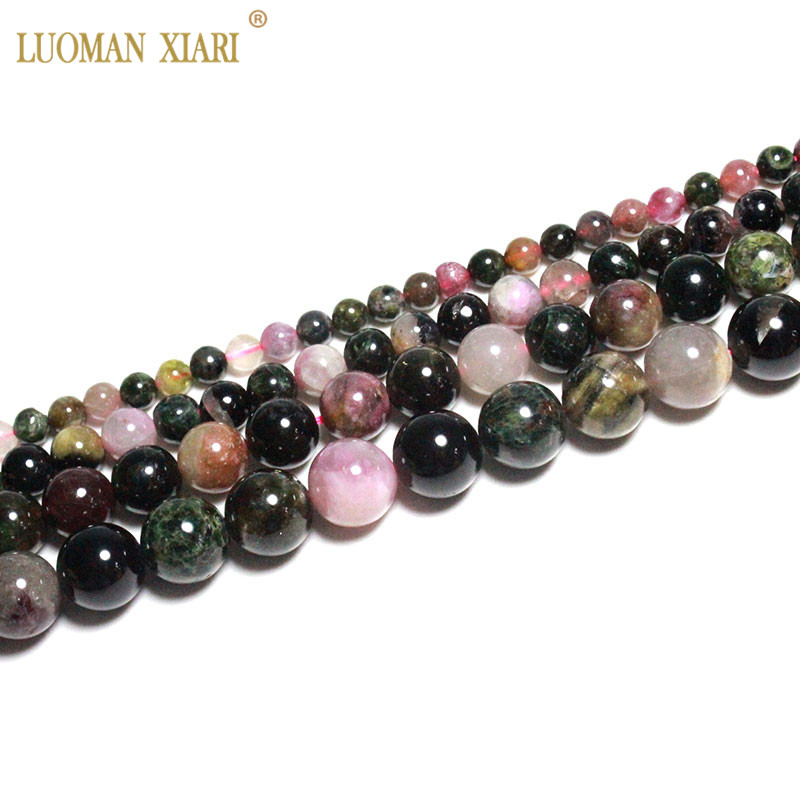 Fine AAA Natural Top Tourmaline Round Natural Stone Beads For Jewelry Making DIY Bracelet Necklace Anklet 4/6/8/10mm Strand 15''