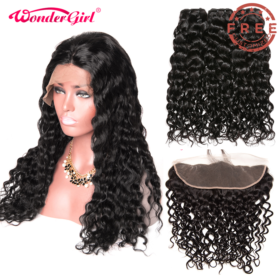 Free Customized Brazilian Water Wave Lace Front Wig With Baby Hair By Remy Human Hair Water Wave Bundles With Frontal