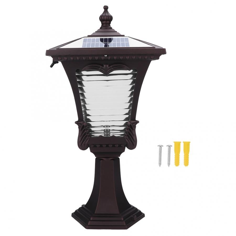 LED Solar Powered Pillar Light Retro Style 2 Colors Lantern Glass Yard Garden Gate Post Lamp - 4
