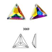 Trójkąt szyć na kamieniach i kryształach AB kolory szkła kryształowego Rhinestone szycia dżetów na ubrania odzieży ślubnej