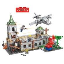цены 728pcs Building Blocks Bricks Battleground Church Minifigure Soldiers Plane Castle Fighter Soldiers Toys Children Weapon Gun