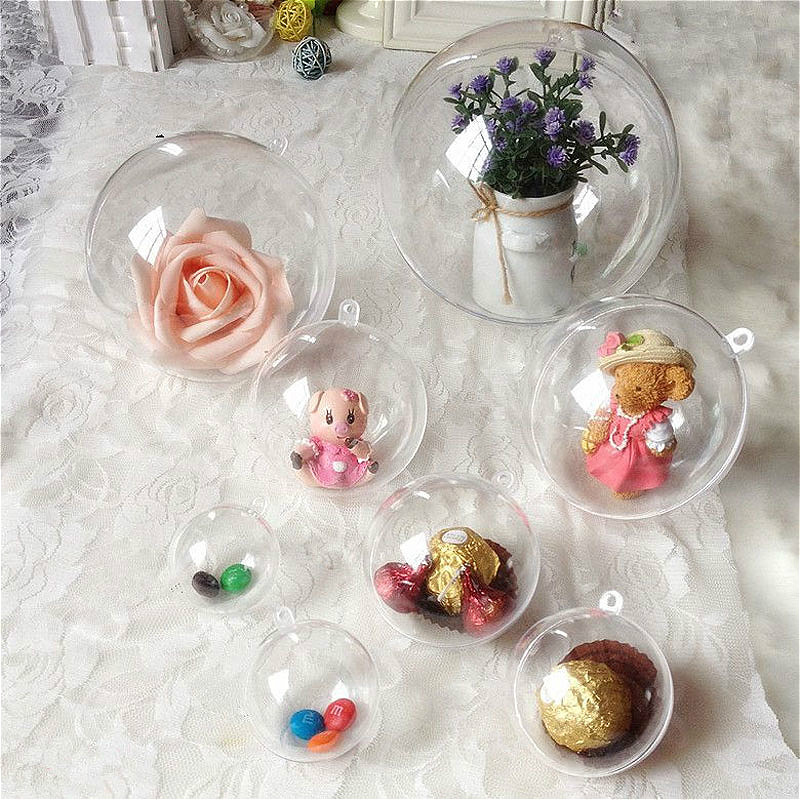 10pcs/lot Christmas Ball 40-16mm Transparent Hanging Ball Xmas Tree Sphere Wedding Marriage Party Decor Gift Candy Storage Boxes