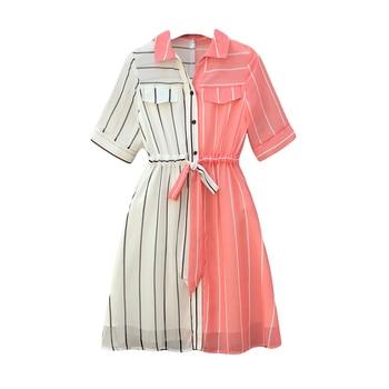 COIGARSAM 4XL Plus Size Chiffon Women dress New Summer Short Sleeve Dresses Red 8004 5