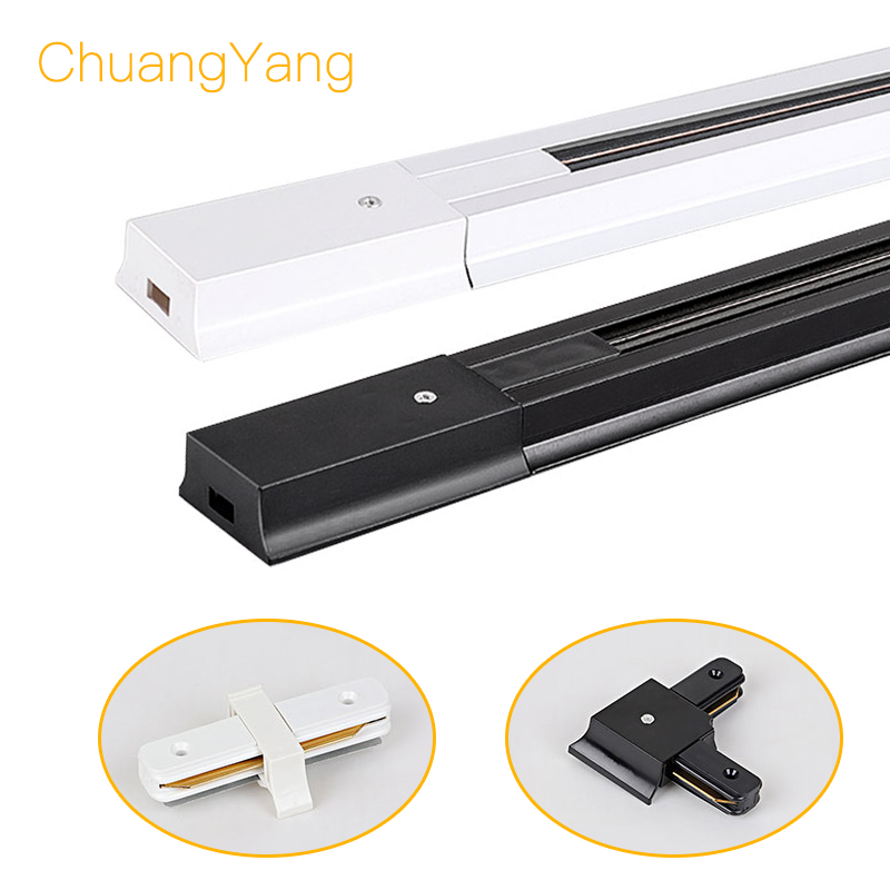 0.5M/1M Track Light Rail Connectors T Track Aluminum Rail For 2 Wire LED Rail Ceiling Track Lamps Spot Lights For Shop Store