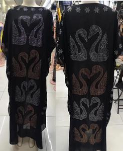 Image 2 - طول الفستان: 145 سنتيمتر فساتين موضة جديدة بازين طباعة Dashiki المرأة طويلة/نمت Yomadou اللون نمط المتضخم