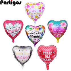 10pcs NEW 18inch Printed Spanish Mother Foil Balloons Mother's Day Heart Shape I Love You Mama Balloon Gifts Birthday Decoration