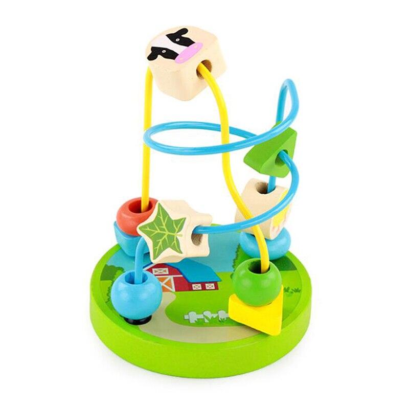 Mini Baby Cartoon Image Around Bead Children\'S Kids Educational Wooden Toys For Children Around Beads Montesori Toys