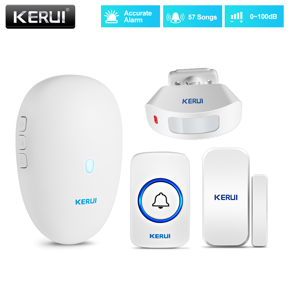 KERUI Wireless Doorbell Home Security Welcome Alarm Kit 57 Chimes Smart Doorbell 80m PIR Motion Detector Window Sensor Door Bell