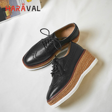 HARAVAL Autumn retro round head women shoes wedges with solid color England single simple wild low casual N111