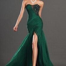 Потрясающий высокий Сплит без бретелек темно-зеленый шифон вечернее платье с черной аппликацией