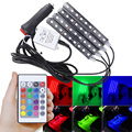 DC 12V Car Auto LED RGB Interior Floor Decorative Atmosphere Lamp Strip Lights Kit Ambient 5050 with Remote for Car SUVs Styling