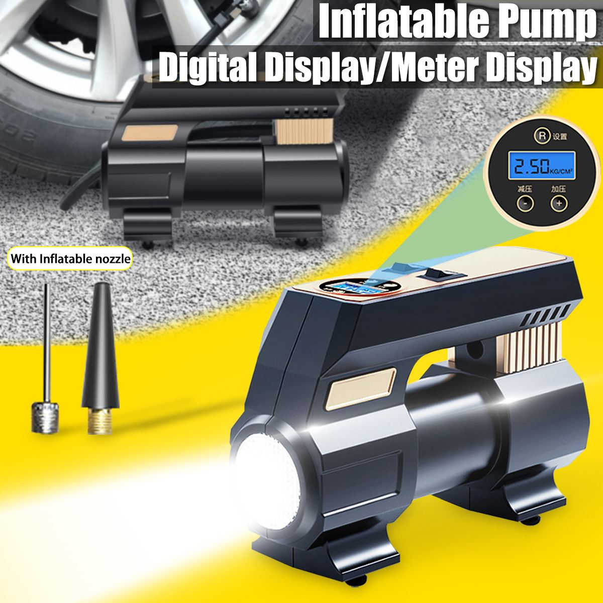 Intelligent Automatic Car Electric Air Pump For Inflatable Car Tire Digital LCD Display Portable Air Compressor Tire Inflator