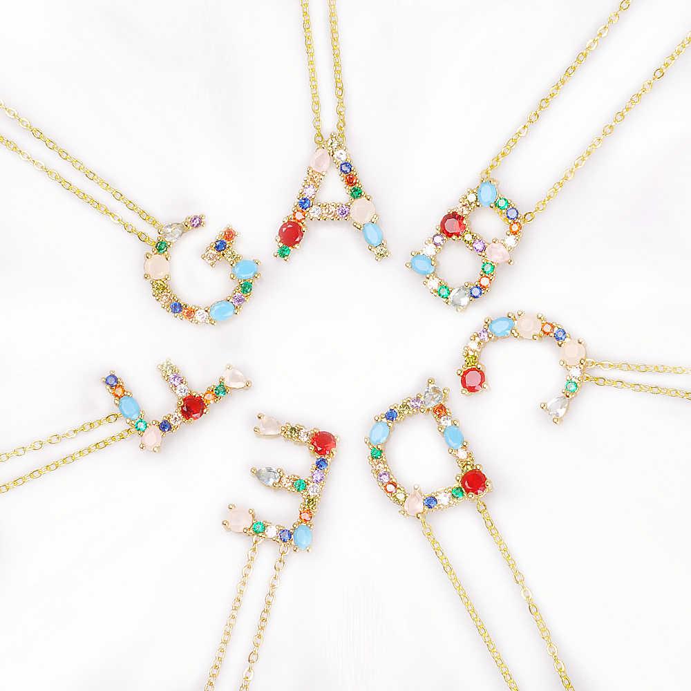 26 สร้อยคอ Multicolor Charm จี้สร้อยคอ Micro Pave zircon เริ่มต้นคู่ชื่อสร้อยคอของขวัญวันวาเลนไทน์