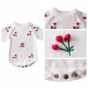 Image 2 - תינוקת Romper סתיו יילוד תינוק Romper ארוך שרוול סרוג תינוק בגדי כותנה דובדבן תינוקות תינוק סרבל ילדה בגדים