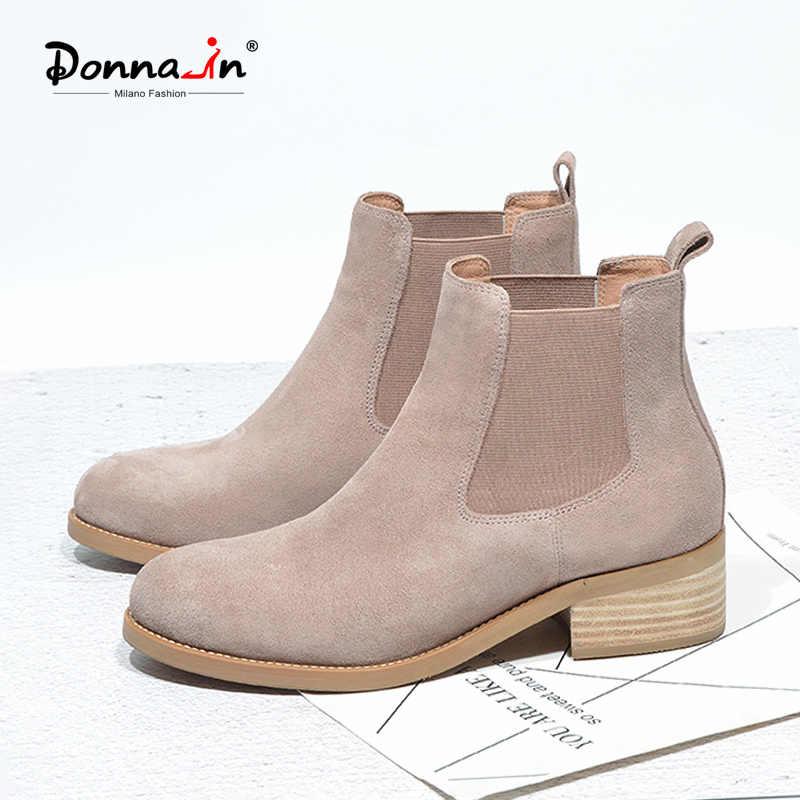 Donna yaylı hakiki deri kadın Chelsea çizmeler yuvarlak ayak orta topuk rahat kadın ayakkabı Slip-On katı 2020 Botas de mujer