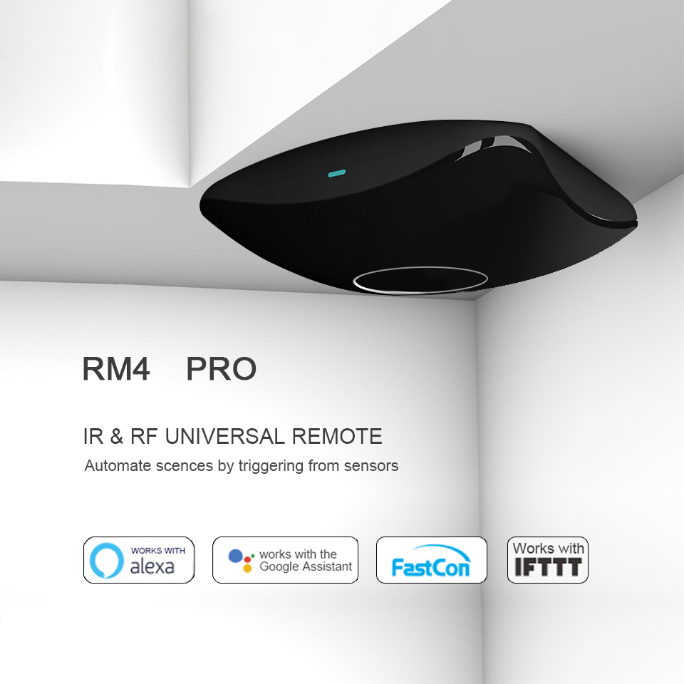 New BroadLink RM4 Pro Smart Universal Remote IR & RF Transmitter For Air-con, TV, Switch, Etc. Support Alexa And Google Home