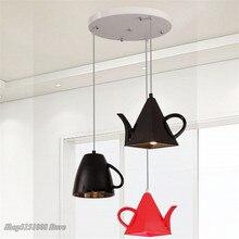 Modern resin teapot pendant lights Tea cup Pendant lamp Kitchen bar/coffee Hanging lamp for Dining Room Decor lighting Fixturess