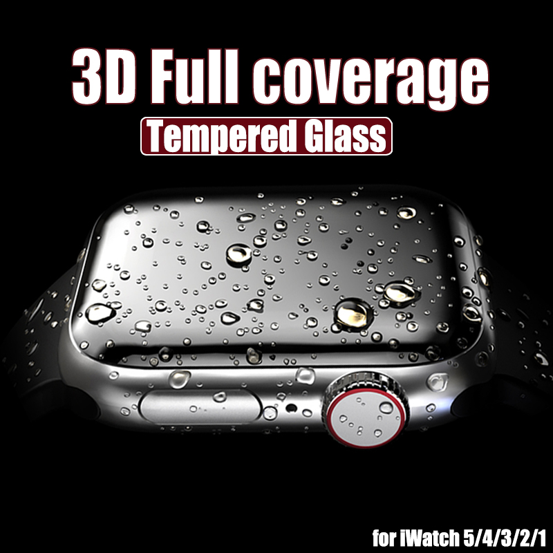 3D Full Cover Tempered Glass For Apple Watch Series 3 2 1 38MM 42MM Screen Protector For IWatch 4 5 40MM 44MM Full Glue Glass